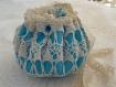Sac aumônière, bourse, napperon vintage revisité, coton écru et satin bleu turquoise,mariage,ceremonie romantique