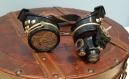 Goggles - lunettes steampunk et loupe noires et dorées