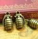 5 breloques en bronze antique grenade charms 22x13mm ch1127