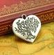 10 breloques antique silver tree coeur charms 23x23mm ch0909