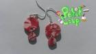 Boucles d'oreilles géométriques rouge (rond)