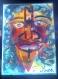 Tableau visage expressif -masque -technique mixte-de sable coloré sur planche de bois