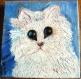 Chaton blanche - peinture acrylique sur toile de coton 20x20cm
