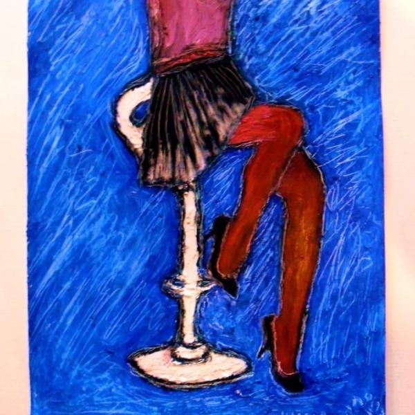 4tableau Peinture La Jeune Fille Heureuse Au Bar Art