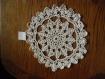 Napperon crochet d'art fait main coton blanc rond de 29cm