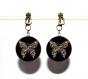 Boucles d'oreilles clips bronze avec cabochons synthétiques * papillons multicolores *