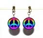 Boucles d'oreilles clips bronze avec cabochons synthétiques * peace and love * 2