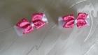 Duo de barrettes satin blanc et rose - pièce unique