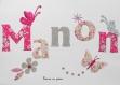 Appliqué thermocollant prénom fille thème papillons fleurs liberty éloïse argent
