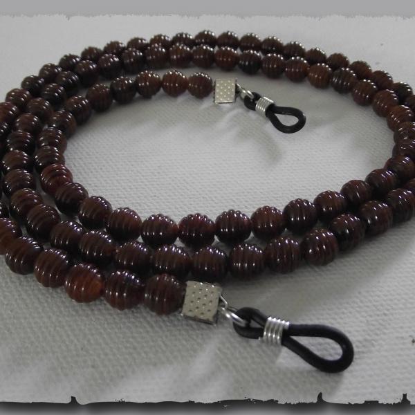 Cordon attache lunettes mixte en perles marron brun   accessoires ... 612bc38003b3