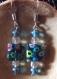 Boucles d'oreilles fantaisie carré millefiori bleu vert pendant dormeuse