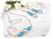 Parure argenté/turquoise collier et boucles d'oreilles mariage pa52
