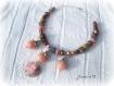 Collier perles soufflées roses creation unique