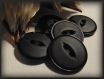 Lot 6 boutons noir mat * 19 mm * 2 trous * 1,9 cm * black button