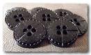 6 boutons noir brillant avec décor 18 mm * 2 trous * 1,8 cm black button