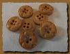 8 boutons marron caramel * 15 mm 4 trous 1,5 cm button brown mercerie