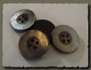 4 boutons gris imitation nacre 25 mm 2,5 cm * 4 trous button sewing neuf lot couture
