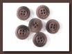 6 boutons brun noir mat * 18 mm * 4 trous * 1,8 cm brown button mercerie