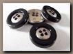 4 boutons noir et argenté * 23 mm 2,3 cm * 4 trous * button sewing métal neuf