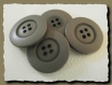 4 boutons marron kaki 25 mm 2,5 cm * 4 trous * button sewing neuf lot couture