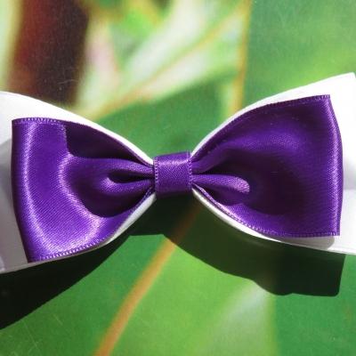 0c3765e46c726 Barrette métal 7 ou 10 cm avec gros noeud papillon en tissu satin blanc et  violet