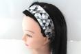 Bandeau cheveux femme graphique noir et gris