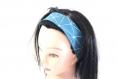 Bandeau cheveux femme graphique bleu pétrole et blanc