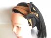 Bandeau cheveux rigide long noir et or