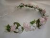 Couronne de fleurs romantique vintage roses et blanches pour mariage