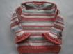 Pull layette bébé rose et blanc 18 mois tricoté fait main