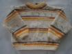 Pull layette 3 mois garçon, blanc orange jaune et marron, tricot fait main