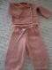 Ensemble brassière pantalon rose poudre taille 1 mois, tricot fait main