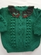 Pull fille 4 ans couleur vert cèdre en laine tricoté main