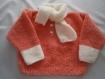 Pull col écharpe orange saumonné 18 mois, tricot bébé layette