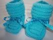 Chaussons layette bleu turquoise avec ruban liberty taille unique