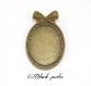 Support cabochon broche ovale 40x30mm; bronze antique x1- 375