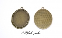 Support cabochon pendentif ovale 40x30mm- 271