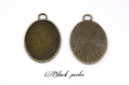 Support cabochon pendentif ovale 40x30mm x1- 366