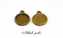 Support cabochon pendentif rond 12mm, bronze antique x2- 342