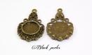 Support cabochon pendentif rond 12mm, bronze antique x2- 244