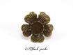 Bague support cabochon rond 12mm, fleur, réglable x1- 217