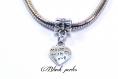Perle style pandora pendentif charm coeur écrit