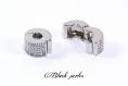 Clip fermoir stoppeur à petits points, en cuivre plaqué rhodium, charm, pandora- m57