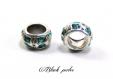 Perle charm style pandora, en métal avec strass turquoise transparent - m68