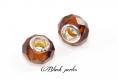 Perle charm style pandora, couleur ambre à facettes en verre et métal - m95