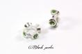 Perle charm style pandora, en métal avec strass vert transparent - m102
