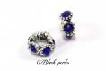 Perle charm style pandora, en métal, avec petites fleurs, et strass bleu roi transparent - m106