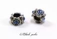 Perle charm style pandora, en métal, à grand trou, avec fleurs, et strass bleu transparent - m107