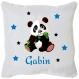 Coussin blanc model panda et étoiles