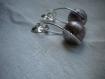 Boucles d'oreilles perles rondes rouge grisée